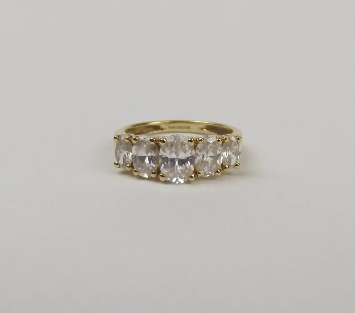 14ct Yellow Gold Cubic Zirconia Five Stone Ring UK Size M US 6