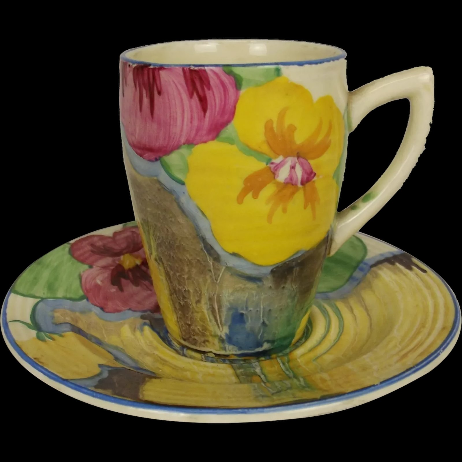 Clarice Cliff Lynton Shape Delicia Pansies Coffee Can And Saucer