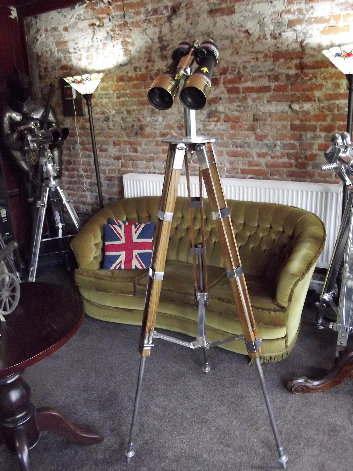 Large Sized WW2 British Navy Ross 10x70 Binoculars On Tripod Stand With Carry Case c1938